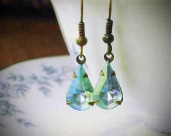 Aqua Blue  Rhinestone Earrings, Pear Earrings, Teardrop Earrings, Vintage Swarovski Earrings, Crystal Stone Earrings, Brass Metal Earrings