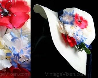 Girls Easter Hat - 1950s Vintage Easter Bonnet - Red Poppies & Blue Flowers - Girl's Spring Hat with Navy Velvet Tails - White Straw - 41430