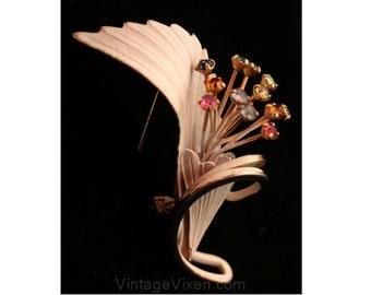 Tropical Bloom 1950s Pin with Multi Rhinestones - 50s Summer Brooch - White & Goldtone Metal - Exotic Flower - Pastel Rhinestones - 32135