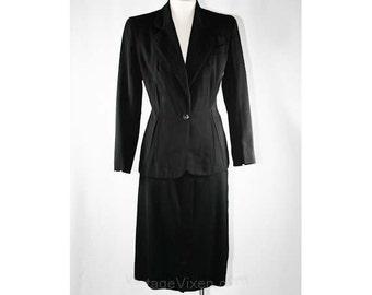 Size 10 Glamorous 1940s Black Gabardine Suit - Old Hollywood Style - Sophisticated 30s 40s Jacket & Skirt - Bust 37 - Waist 29.5 - 38884-1