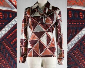 Size 10 1970s Top - 70s Beatnik Batik Print Disco Shirt - Brown Casual Batik Style Bohemian 70's Long Sleeve Blouse - Bust 37 - 39894