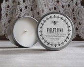 Soy Candle Violet Lime Scented, 6 ounce Soy Candle Tin hand crafted in small batches