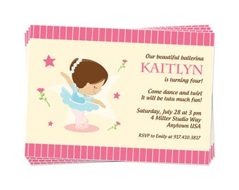 50% Off Sale! - PRINTABLE Ballet Party Invitation