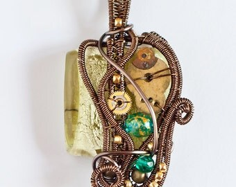 OOAK Olive green steampunk wire wrapped pendant