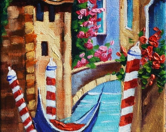 Rebecca Beal Original Oil Painting Thick canvas Gondola Landscape Art Gift