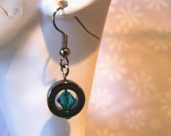 Earrings Gunmetal and Swarovski Crystal Unique Earrings