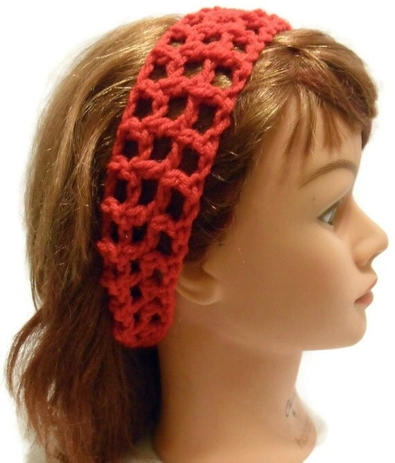 Crochet Mesh Stretch Headband Adjustable Hair Accessory in Red