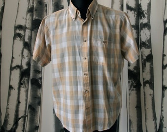 Men's 60's/70's Plaid Shirt Golden Tan and Gray and White Mad Men size XL