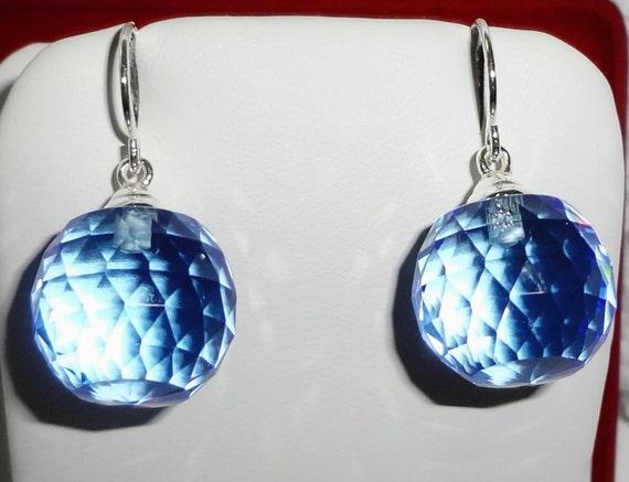 GENUINE 44 cts Briolette Ball cut Sky BlueTopaz gemstones, solid sterling silver Pierced Earrings