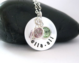 Mothers Charm Necklace Two Names Birthstones Personalized Hand Stamped Mom Jewelry