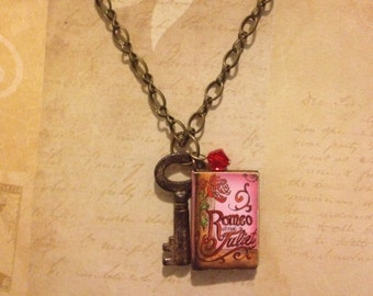 Romeo and Juliet Book Antique Barrel Key Necklace