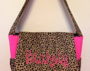 LEOPARD fabric Diaper Bag with Free Monogram