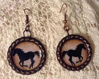 Horse Silhouette Cowgirl Bottle Cap Earrings