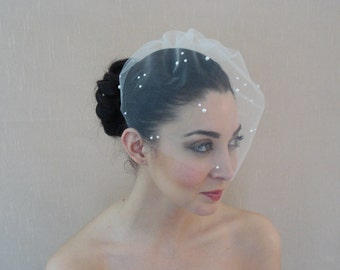 Tulle Birdcage Veil Adorned with Flat Back Pearls in Ivory White Champagne Blush Black - Ready to ship in 3-5 days