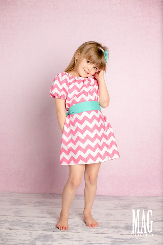 Girls Peasant Dress with Sash Glam Collection Pink Chevron Toddler Infant Girls