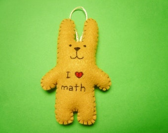 I love math bunny ornament, felt ornament, math gift, smart Christmas ornament mathematics, math teacher, math geek