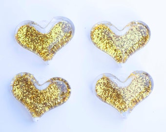 38mm Gold Glitter Heart Pendant for Chunky Necklace 4 ct