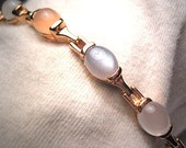 Vintage Moonstone Bracelet Estate Gray White Peach Gold