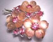 Vintage Fruit Salad Floral Brooch Signed 1950's Pink