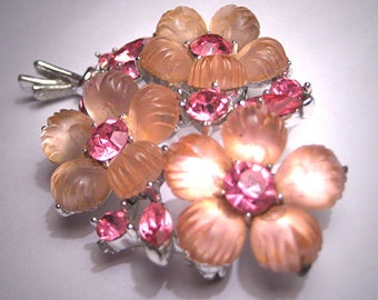Vintage Fruit Salad Floral Brooch Signed 1950's Pink