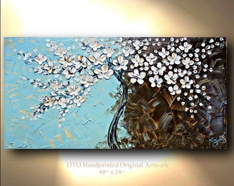 "Made to Order 72"" Tree Flower Oil Painting Abstract Blue Brown White Gold Canvas Ready to Hang Textured Art Acrylic Landscape Artwork by OTO"
