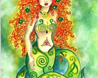 Instant Download Art Celtic Mermaid Red Head Fairy Green