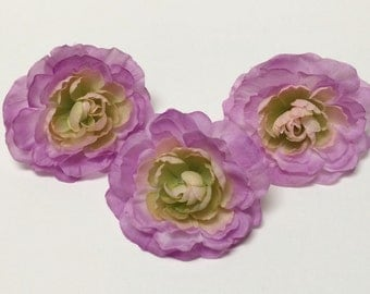 Silk Flowers - THREE Light ORCHID PURPLE Ranunculus - Artificial Flowers