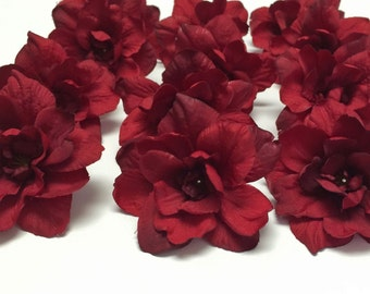 Silk Flowers - TWELVE Delphinium Blossoms in Red - 3 Inches - Artificial Flowers