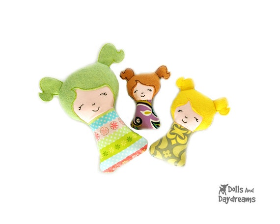 Items similar to Baby Girl Doll Rattle Stuffie Embroidery ...