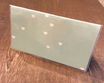 Mint Hearts Checkbook Cover by Whitewashed Comfort