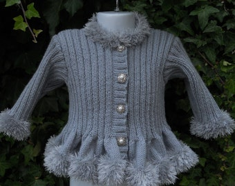 Baby/toddler/girl's hand knitted coat in 100% soft merino wool, age 12-18m up to 7 yrs MADE TO ORDER