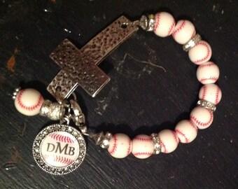 Baseball Cross Bracelet with monogram charm