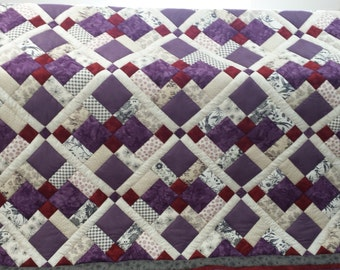 Gorgeous Purple, red and cream, custom made Queen size quilt, quilt, comforter