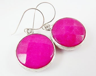 Hot Pink Round Gemstone Earrings - Jade - Matte Silver plated with Sterling Silver Earwire