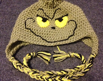 Hand made crochet Dr Seuss Grinch winter earflap hat