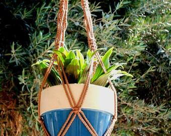 Macrame Plant Hanger Vintage Style 4mm, 30 inch - CINNAMON  (Choose Color)