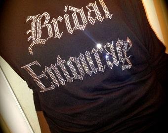 5 Bridesmaid off shoulder shirts // slouchy rhinestone bridesmaid shirts // wide neck bridesmaid shirts // bridal entourage rhinestone shirt