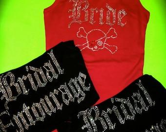 5 bachelorette party tank tops. 5 bridal entourage cross-bone tank tops. rock themed bachelorette party. bride crossbone rhinestone tank.