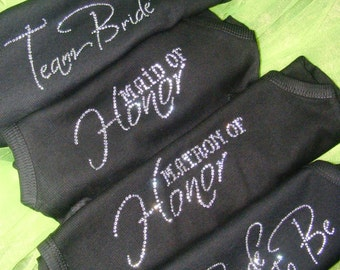 8 Bridesmaid half lace rhinestone tank tops / maid of honor / flowergirl / bride's entourage / bride to be / matron of honor / team bride
