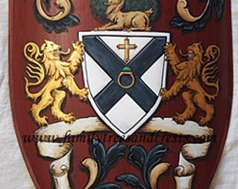 Medieval knight shield, custom steel knight shield with Coat of Arms / family crest painting