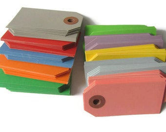 "200 Colored Parcel / Shipping Tags - Blue Red Yellow Orange Green Gray Purple Pink - Small 2 3/4 x 1 3/8"" - DIY Packaging - Blank - 2.75"""