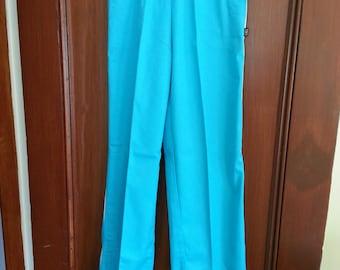 Vintage Never Worn Bon Jour Girls Aqua Blue Pants Size 10 Creased Elastic Waist White Leg Stripe Snap Pockets 1980s
