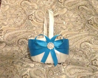 flower girl basket wedding turquoise blue and white or ivory custom made