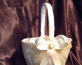 wedding flower girl basket ivory color with gold custom made