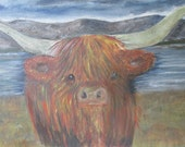 Happy Highlander Highland cow original landscape painting acrylic on canvas 51cm x 40cm