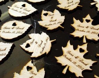 125 Wood Leaf Wedding Favors Personalized