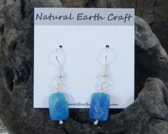 Blue sodalite earrings faceted African sodalite semiprecious stone jewelry packaged in a colorful gift bag 2541 A B