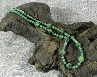 "Green zoisite necklace 24"" long semiprecious stone jewelry packaged in a colorful gift bag 10311"