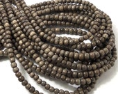 Graywood, Natural Wood Beads, Round, Smooth, 4mm - 5mm, Small, 16 Inch Strand - ID 1388