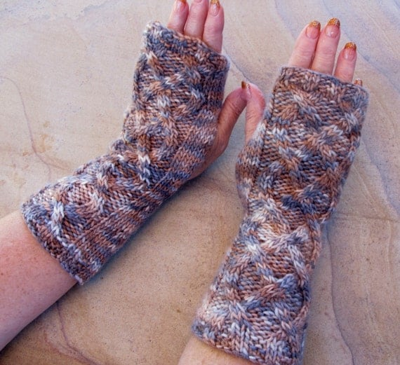 Cabled Fingerless Gloves, Hand Painted Yarn